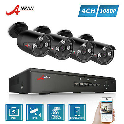 ANRAN 1080P CCTV Camera Security System POE 4CH NVR Waterproof HD Outdoor Home