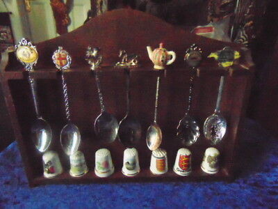 Wooden Rack with 7 Spoons & 7 Thimbles Wall Hanging Beautiful Item Unusual