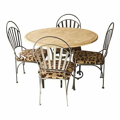 Awesome powder coated iron travertine dining dinette table & chairs EUC - ATL