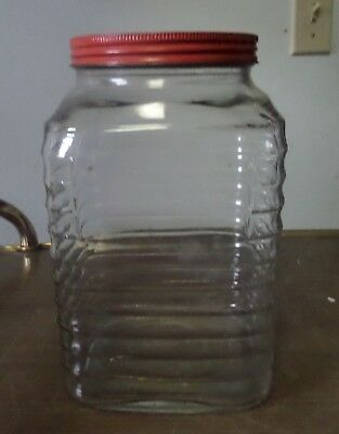 """Vintage 9 x 5-1/2"""" Square Clear Glass Jar Ribbed Canister"""