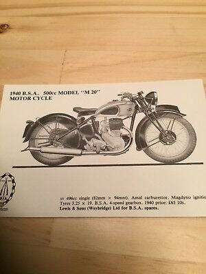 Limited Edition Vintage Postcard - 1940 500cc BSA Motorcycle- Unposted
