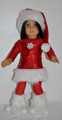 American Made Doll Clothes For 18 Inch Girl Dolls Dress Lot Christmas Set