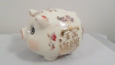 Lucky Chinese Pig Piggy Bank ~ Gold Relief Writing, Floral, Sailing Ship Motif