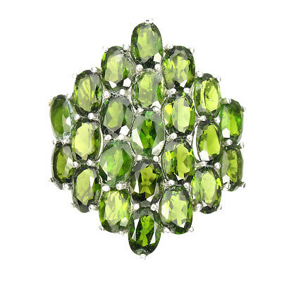 Gorgeous Oval 6x4mm Top Rich Green Chrome Diopside 925 Sterling Silver Ring Sz 9