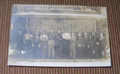 Antique Electric Street Sprinklers Street Car & Crew Real Photo Postcard