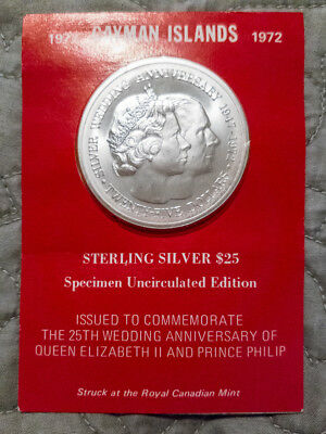 1972 Cayman Islands $25 Sterling Silver Proof Coin 25th Wedding Anniversary