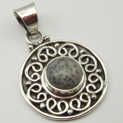 "925 Stamp Sterling Silver DENDRITIC AGATE Pendant 1.2"" ! Combined Shipping"
