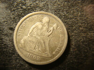 1862  VF XF Seated Liberty Dime Decent Coin REP