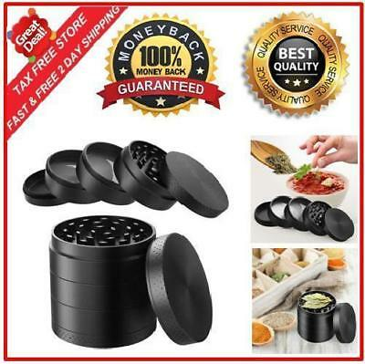 Large Spice Tobacco Herb Grinder 4 Chambers Light Weight Zinc Alloy Metal Black