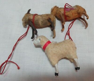 Two Old Antique Goat Christmas Ornaments & Sheep ornament