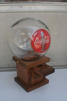 Vintage Coca-Cola Gumball Dispenser with Glass Globe Topper and Wooden Base