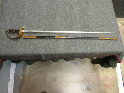 Wwii Italian Air Force Cadet Sword W/ Scabbard-Engraved Both Sides