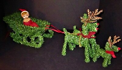 Vtg Bradford Northern Forest Christmas Greenery Sleigh 3 Reindeer & Pixie Elf