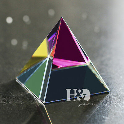 Crystal Iridescent Pyramid Rainbow Colors With Gift Box 3.1-Inch Healing Gift