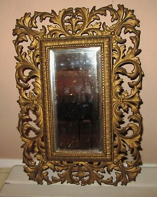 Fabulous Antique Victorian Brass Frame With Beveled Mirror For Hanging