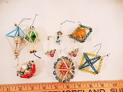 7 Antique Vintage Glass Czech Beaded Small Ornaments Great For Feather Tree