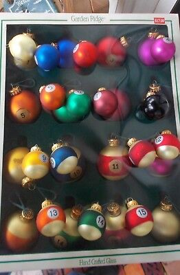 Billiards Pool Ball Ornaments: 2 Sets, 2 Sizes. Hand Crafted Glass
