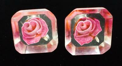 Pretty Vintage Reverse Carved Red Pink Rose Flower Earrings, Screw Back