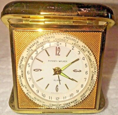 Vintage Collectible Phinney-Walker Travel Alarm Clock in Black Leather Case