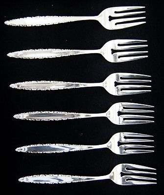 """Lot Of 6 Lunt LACE POINT Sterling Silver Salad Forks 6.5"""" (A5354)"""