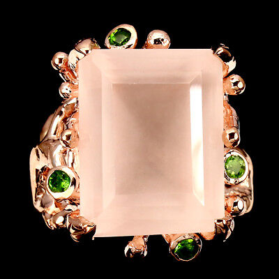 Special Handmade 22.26ct Pink Rose Quartz Chrome Diopside 925 Silver Ring Size 9