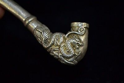 Chinese Rare Collectible Antique Old Tibet Silver Handwork Dragon Sm0king Pipe
