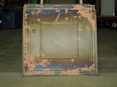 "Old Antique ( Metal )  tin ceiling tile  24""x 24""  magnet board ? canvas ?"