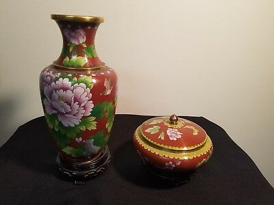 """Vintage Chinese Cloisonne 10"""" Vase and Covered Jar with Bases BEAUTIFUL"""