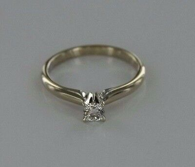 0.25 ctw SI3 H Round Diamond 14k White Gold Solitaire Ring Size 4.5