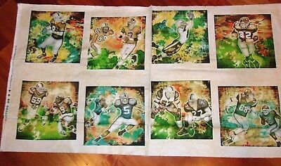 Football Players Patches Panel Gridiron BLUE Cotton Fabric Dan Morris .65 Yd L