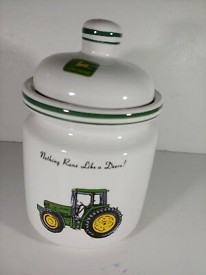"""JOHN DEERE Small Canister & Lid Tractor Jar by Gibson Designs Farm Decor 7"""""""