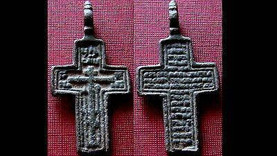 Authentic Post Medieval Bronze Cross Pendant - Wearable