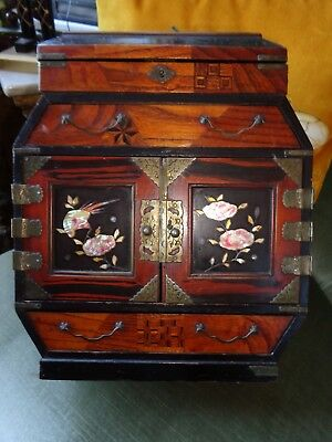 Antique Kodansu Japanese Meiji Period Lacquer  Cabinet Box Inalaid Detail