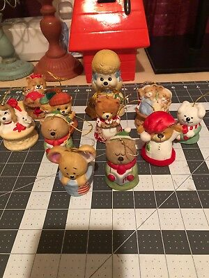 Jasco Vintage Lot Of 11 Critter Chimers Ornaments & Bells/ 1980's