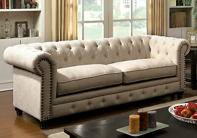 Darby Home Co Lindstrom Chesterfield Sofa Cream Ivory 989 99