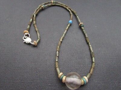 NILE  Ancient Egyptian Rock Crystal Amulet Mummy Bead Necklace ca 600 BC
