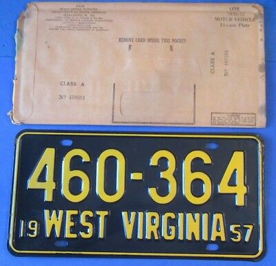 1957 West Virginia License Plates Tag  460-364 *Gorgeous* with Original sleeve