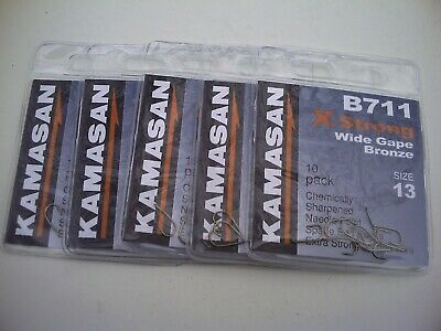 50 x Kamasan B711 X strong Barbed Hooks. Size 13.  Perfect All Round Hook.