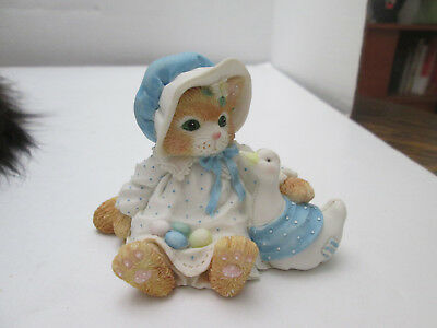 1994 Enesco Calico Kittens Figurine Furry & Feathered Friends Cat & Goose 2154