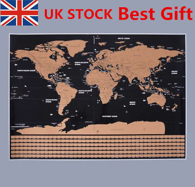Deluxe World Travel Scratch Off Map 42x30cm Holiday Poster Wall Paper Xmas Gift