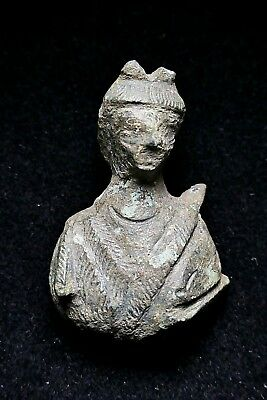 Roman, Small Bust of the Goddess Diana, 1st to 3rd Century, Bronze Fitting