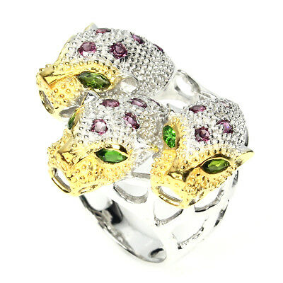 Awesome Marquise 4x2mm Chrome Diopside Rhodolite 925 Sterling Silver Tiger Ring