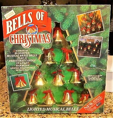 Mr Christmas 10 Lighted Musical Brass Bells Of Christmas Play 21 Carols & Remote