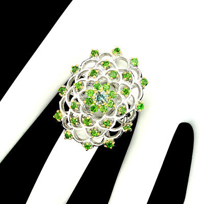 Gorgeous Round 5mm Top Seafoam Blue Zircon Chrome Diopside 925 Silver Ring 9.5