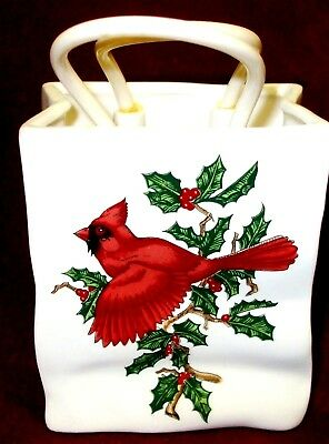 Lefton Christmas Holly & Cardinal Ceramic Gift Bag Christmas Bird Ornament