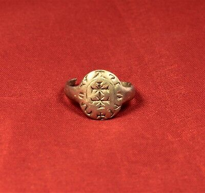 Medieval Templar Knight's Silver Seal Ring - Cross Seal, 12. Century