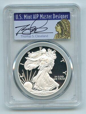 2007 W $1 Proof American Silver Eagle 1oz PCGS PR70DCAM Thomas Cleveland Native