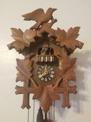 Vintage Black Forest West German Cuckoo Clock With Music Box