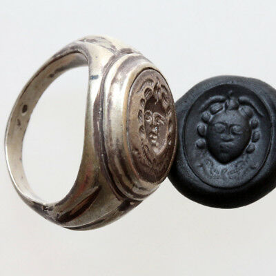 Museum Quality Massive Ancient Greek Bronze Gorgon Seal Ring Ca 300 Bc