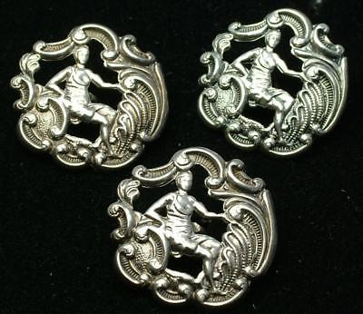 3 x LARGE ANTIQUE HM 1900 STERLING SILVER SEATED LADY BUTTONS - LOT 69